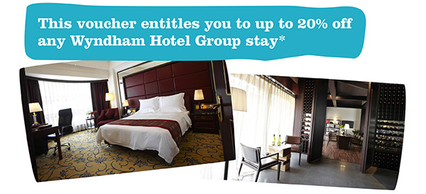 This voucher entitles you to up to 20% off any Wyndham Hotel Group stay*