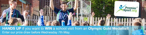 Hands up if you want to WIN a school visit from an Olympic Gold Medallist! Enter our prize draw before Wednesday 7th May